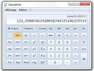 calculatrice scientifique avec puissance